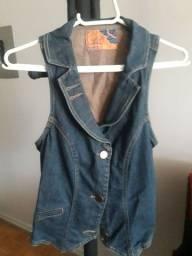 Colete jeans feminino