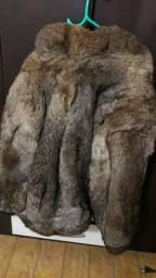 Casaco de pele legítimo de coelho