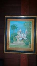 Quadro, Óleo sobre Tela, Igreja Vale do Paraíba, Artista D. Cruz C/ Moldura