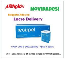 Etiqueta Adesiva Lacre para Delivery - Caixa com 8 Rolos - Cor Azul - Regispel