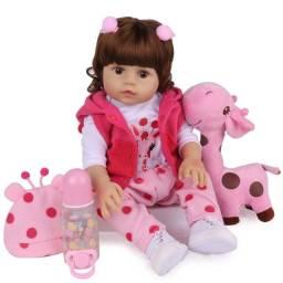 Boneca Bebe Reborn Laura Baby menina 46 cm corpo todo silicone Girafinha