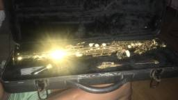 Sax soprano todo dourado revisado e aceito cartao
