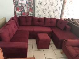 Sofá com chaise lindo aqui na Tavares camas