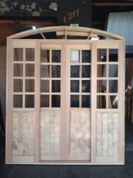 Título do anúncio: Promoção porta de correr meia vidro e couro 230 x 200 a pronta entrega !!