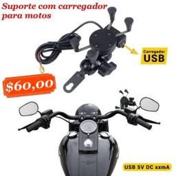 Suporte de smartphone com carregador para motos
