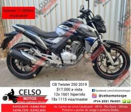 Título do anúncio: CB Twister 250 2019 17.000km Extra Financio 48x Cartão 24x aceito sua moto