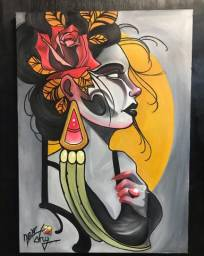 Título do anúncio: Quadro artistico feito com tinta a óleo