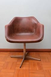 Poltrona / Cadeira de Escritório (LER ONSERVAÇÕES) em Courvin Marrom 76 cm x  60 cm x  52