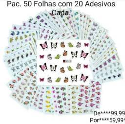 PACOTE COM 50 Folhas Adesivos De Unha (Água) Com 20 Adesivos Média Por Folha.