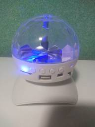 Caixa de som Bluetooth com globo de luzes pista de dança