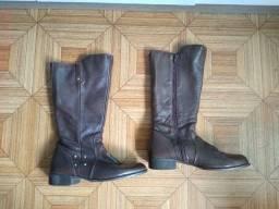 3 botas couro café salto baixo-36/café salto alto-35/preto-tam-35