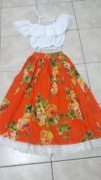 Conjunto Vestido Carimbo Tam.8