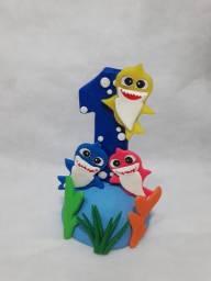 Vela temática em biscuit Baby Shark