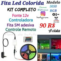 Fita Led Colorida Rgb 5050 com controle Remoto Kit completo ( Loja Fisica )