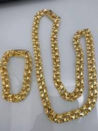 Título do anúncio: Conjunto friso triplo hiper grosso , moeda antiga banhado a ouro 18k