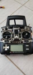 Radio turnigy 9XR com 9 canais módulo frsky XJT bolsa bateria