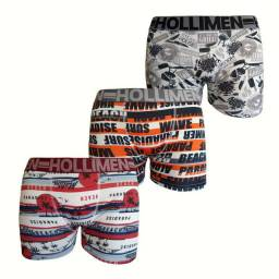 Cuecas Box Boxer Microfibra Hollimen Original Adulto