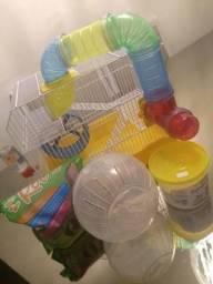 Gaiola para hamster com tubos