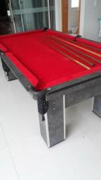 Mesa Carlin Bilhares Cor Dakar Tecido Vermelha Mod. ZAQY1439