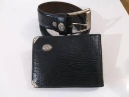Cinto e carteira couro legítimo, marca Mitty