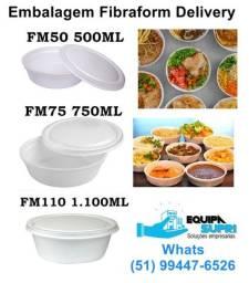 Embalagem Fibraform isopor delivery, marmita, comida caseira, quentinha