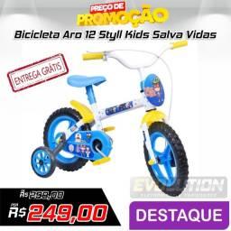 Bicicleta Aro 12 Styll Kids Salva Vidas - Azul e Branco (entrega grátis)