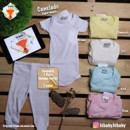 Roupa Bebê Menino Menina Unissex Body E Calça Longo