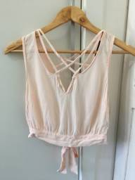 Blusa cropped rosa Forever 21