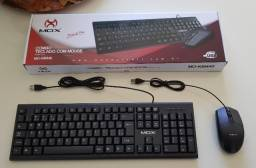 Kit Teclado E Mouse Com Fio Usb Slim Padrão Abnt - Mox Dotcell