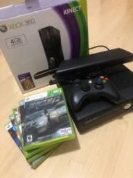 Console Xbox 360 Slim 4gb + kinect + 5 jogos.