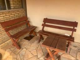 Título do anúncio: Conjunto de Bancos e mesa em madeira maciça