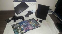 PS2 Slim Destravado + 2 Controles + 10 Jogos + Memory Card + Pendrive 16GB.