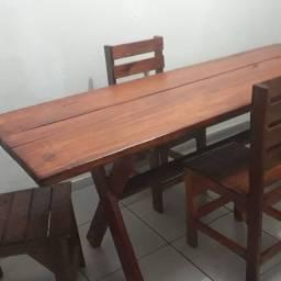 Mesa cadeiras rustico