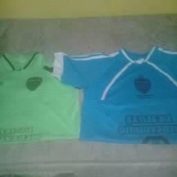 18 camisas 9 verde e 9 azuis para futebol