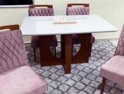 Mesa de Jantar Firenze c/ Tampo de Vidro OffWhite + 4 Cadeiras - Entrega Rápida