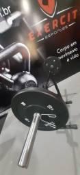 Kit Barra olímpica e anilhas olímpica 100 kg Crossfit Competição profissional