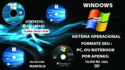 DVD'S Sistema operacionais para formatação