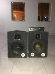 Amplificador de som + 2 caixas de som
