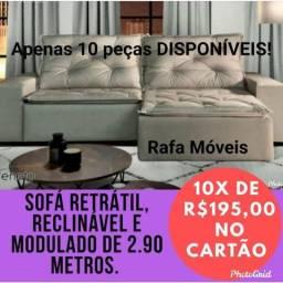 Sofá Veneto de 2.90m retratil e reclinável! Por apenas 10x de 195,00 no cartão!!!
