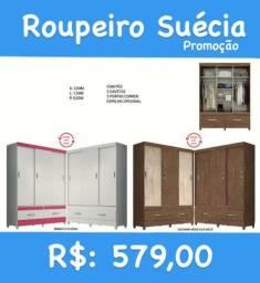 GUARDA-ROUPA/MARROM BRANCO COM ROSA/BRANCO