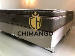 Cama Cama Box Blindada + Colchao Gold ultragel Queen 158x198 Melhor Preço Confira
