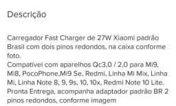 Carregador Xiaomi Fast Charger 27w