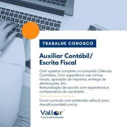 Contratamos: Auxiliar Contabil/Fiscal