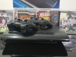 PS3 Super Slim 250Gb com 6 jogos e 2 manetes tudo original !