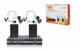Kit 2 Microfone Vhf Sem Fio Auricular Cabeça Headset Lapela