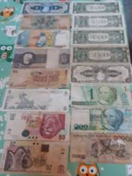 Cédulas estrangeira e brasileira pra vender ou fazer rolo