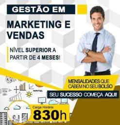 Título do anúncio: Curso Superior em Gestão de Marketing e Vendas - Curta Duração, EAD