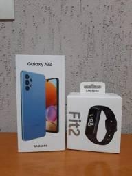 Galaxy A32 Azul 128GB / 04GB Ram + Fit2 Samsung - Novo Lacrado c/ NF
