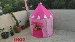 Barraca Infantil Dobrável Tenda Castelo Das Princesas Cabana tem azul rosa<br><br>
