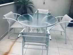 Mesa redonda com Cadeiras de alumínio Com Ombrelone